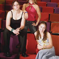 """Casey (Jackie Campbell), Holly (Melissa Thoreson) and Lisabette (Jessie Kassow), clockwise from left, in Utah State Theatre's production of """"Anton in Show Business"""" in the Caine Lyric Theatre in Logan."""