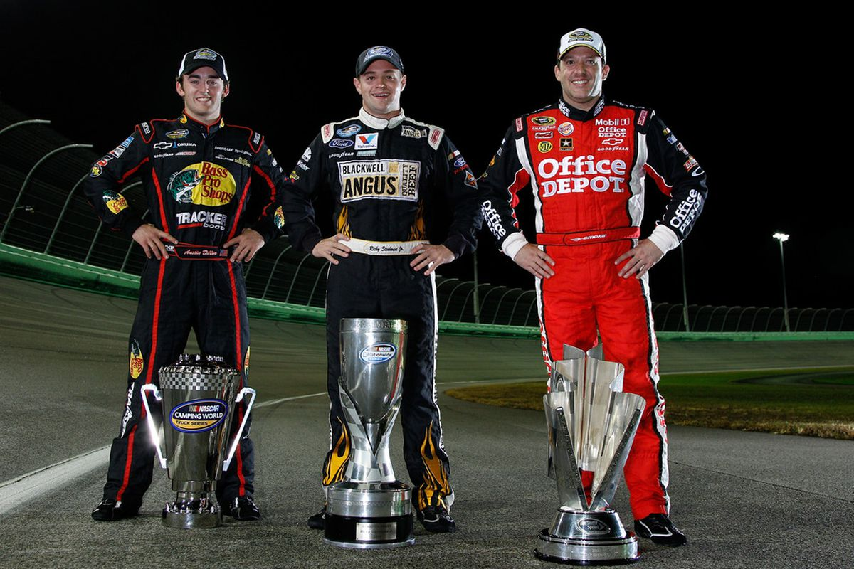 NASCAR Camping World Truck Series champion Austin Dillon, Nationwide Series Champion Ricky Stenhouse Jr., and Sprint Cup Series Champion Tony Stewart.
