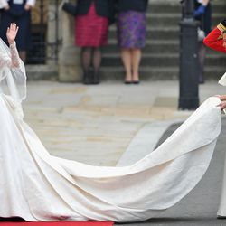 Wearing custom Alexander McQueen by Sarah Burton for her April 29th, 2011 wedding to Prince William at Westminster Abbey.