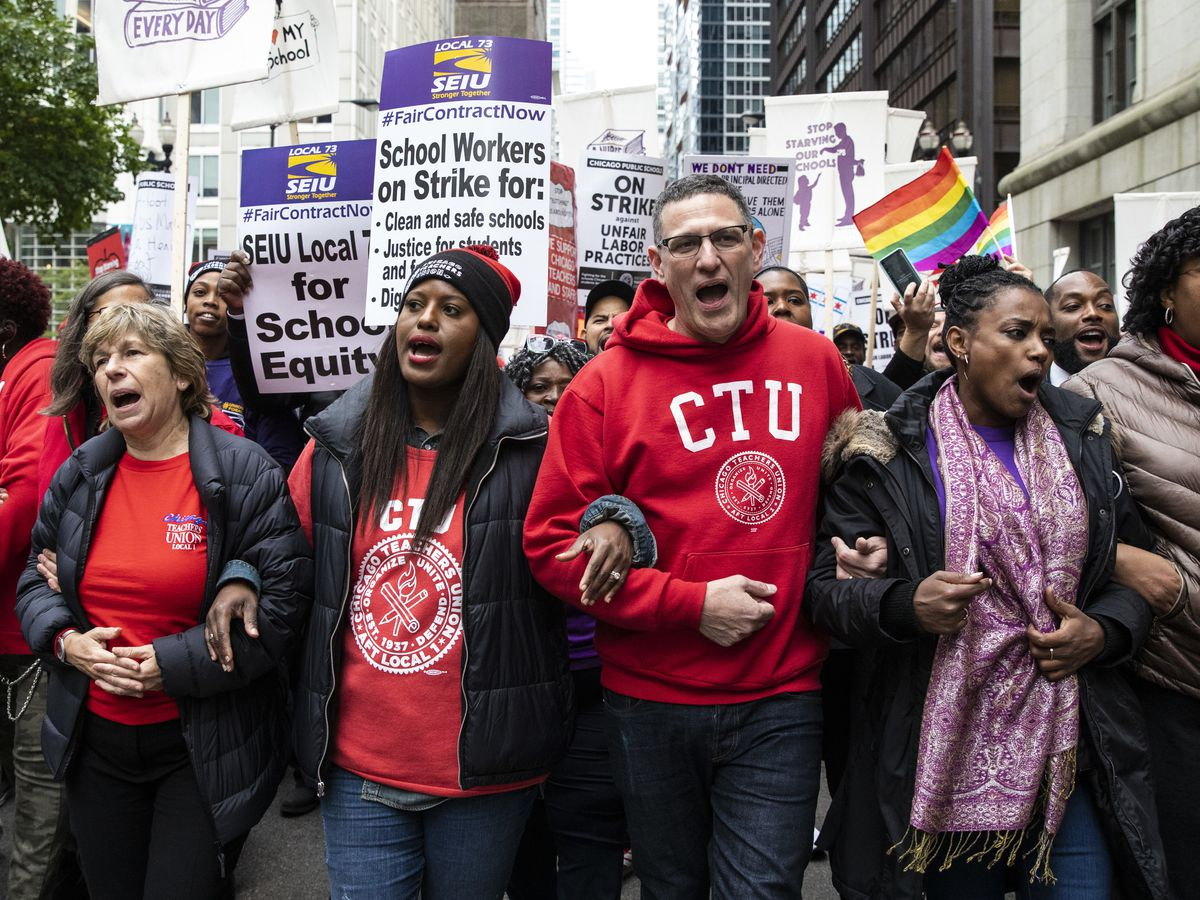 Chicago Teachers Union Vice President Stacy Davis Gates and CTU President Jesse Sharkey lead thousands of striking union members on a march through the Loop, Thursday afternoon, Oct. 17, 2019.
