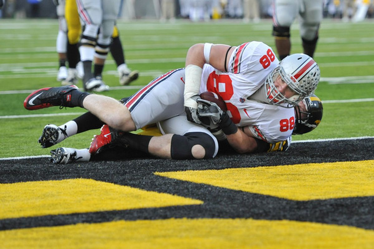 Reid Fragel has his work cut out for him having to transition from tight end to right tackle before his senior year.
