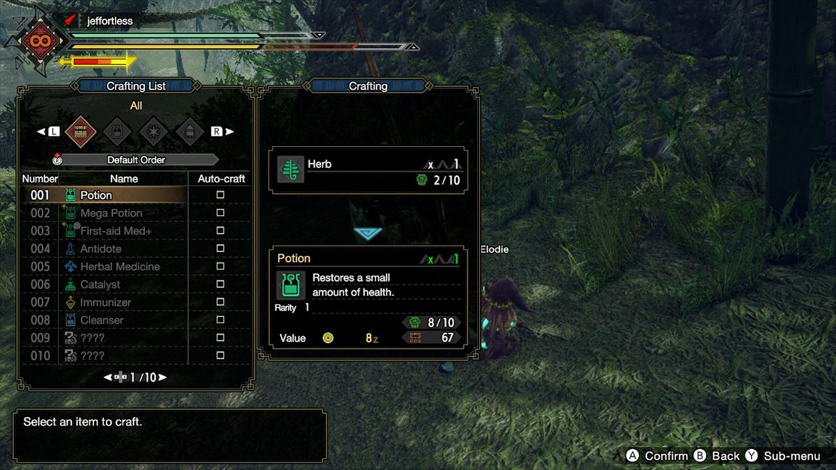 An item crafting screen from Monster Hunter Rise