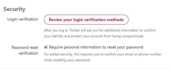 twitter - login verification