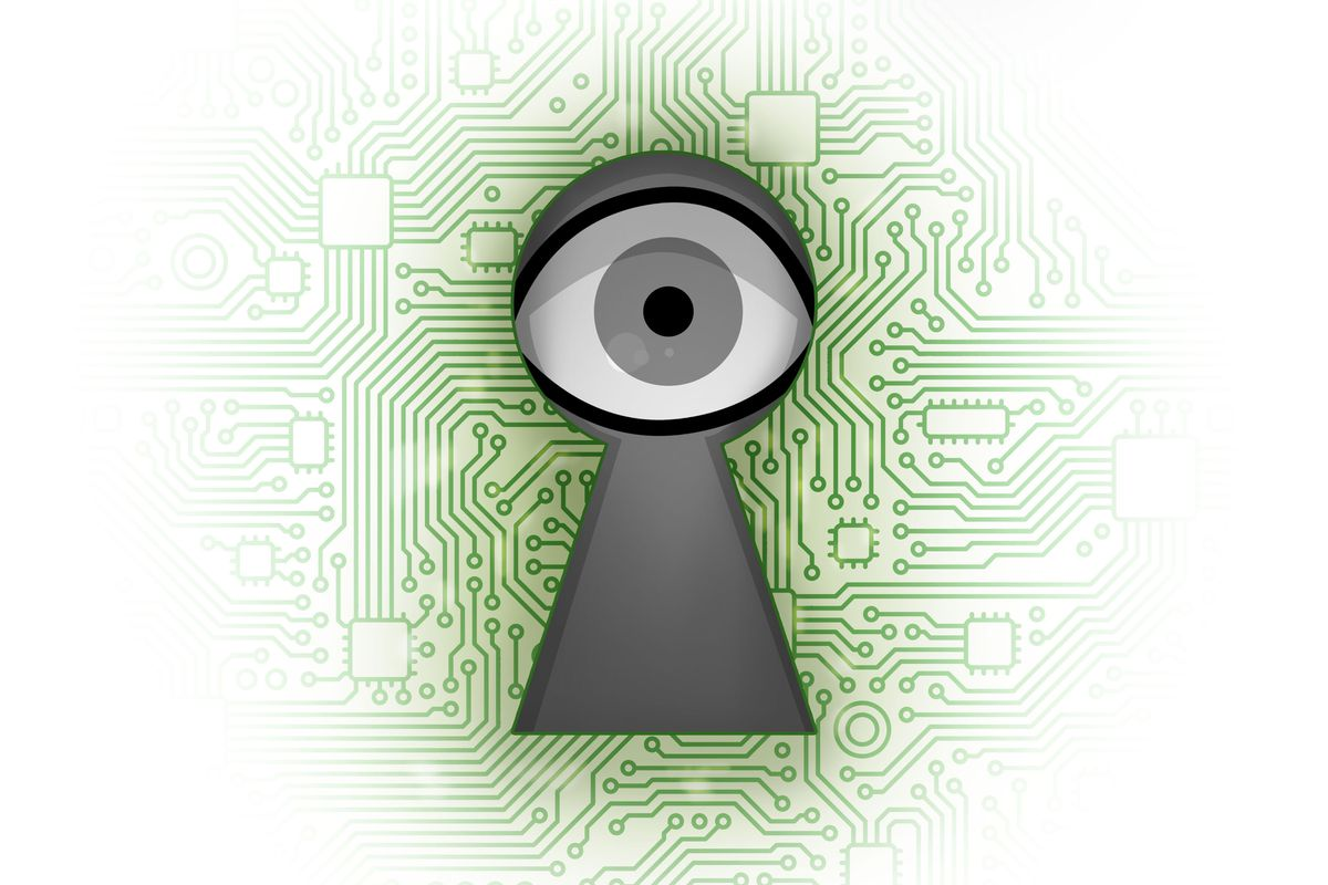 An Illuminati eye surrounded by a motherboard-esque design