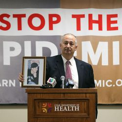 Mark Lewis, father of a 27-year-old son who died from a heroin overdose, speaks at a press conference to launch a new campaign, Stop the Opidemic, at the Utah Department of Health in Salt Lake City on Wednesday, Jan. 25, 2017.