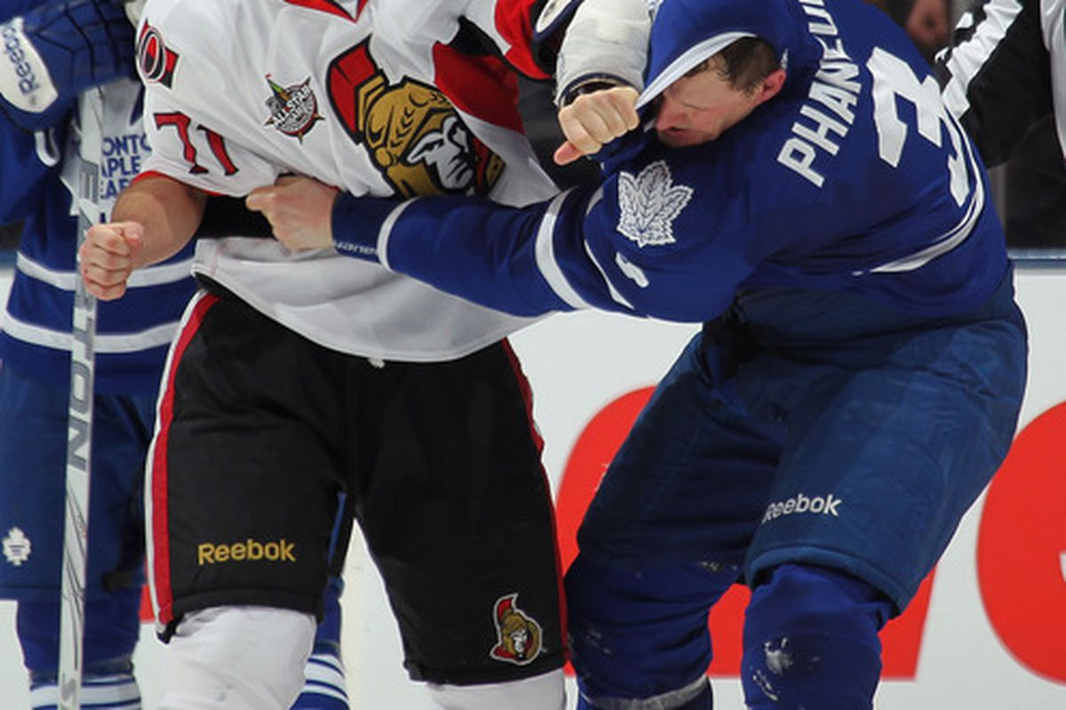 With his jersey pulled over his face, Dion Phaneuf was saved from having to look at Nick Foligno's ugly mug any further.