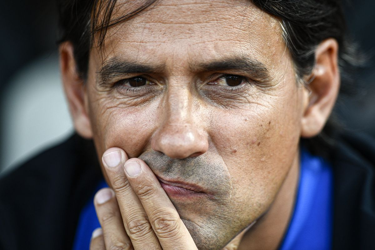 Simone Inzaghi, head coach of FC Internazionale, looks on...