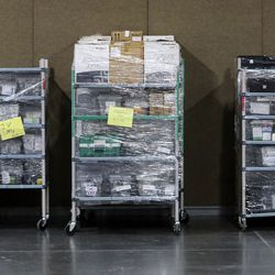 Medical supplies are pictured in the Mountain America Expo Center in Sandy on Monday, April 6, 2020. The state contracted with Salt Lake County to use the expo center as ahospital overflow facilityfor people needing hospital care that's not related to COVID-19 should the need arise during the pandemic.