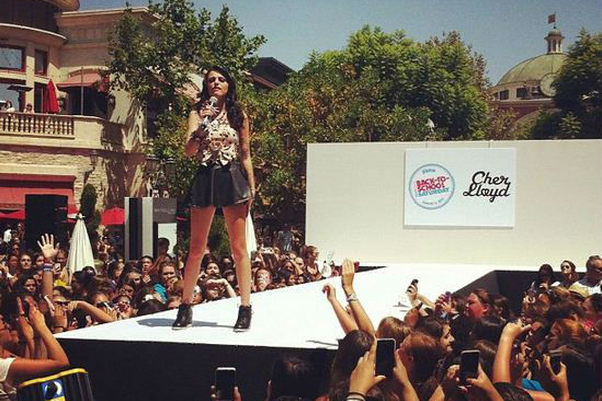 """Image by Teen Vogue Twitter via <a href=""""http://blogs.laweekly.com/informer/2012/08/cher_lloyd_the_grove_los_angeles_heat_girls_teen_vogue_lafd_fashion_show_photos.php"""">LA Weekly</a>"""