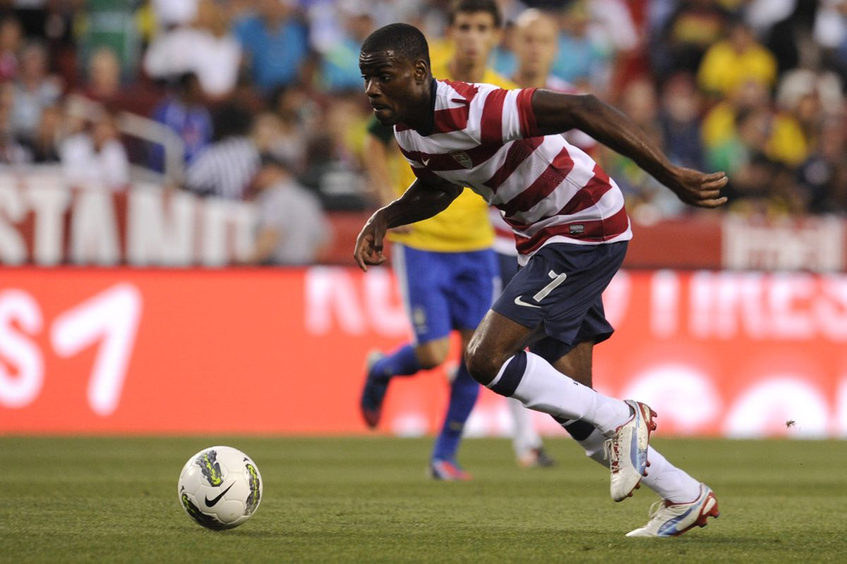 May 30, 2012; Landover, MD, USA; USA midfielder Maurice Edu (7) dribbles the ball against Brazil during the first half of a men's international friendly match at FedEx Field.  Mandatory Credit: Rafael Suanes-US PRESSWIRE