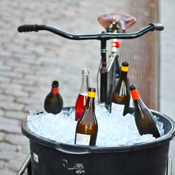 A bicycle full of natural wines