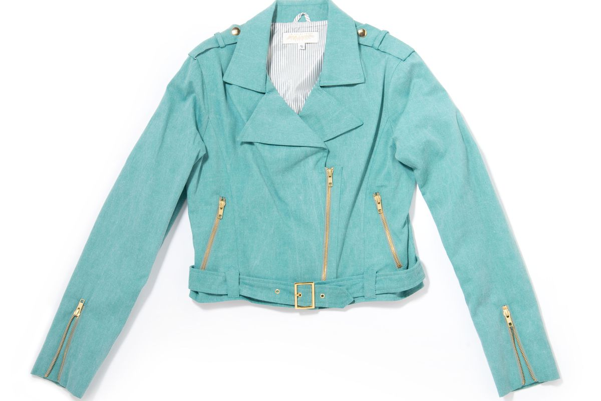"""<br><a href=""""http://ingodwetrustnyc.com/collections/bonanza-sale/products/moto-jacket-teal-cotton-twill"""">Moto Jacket in Teal Cotton Twill</a>, $40 (was $360). All images via IGWT"""