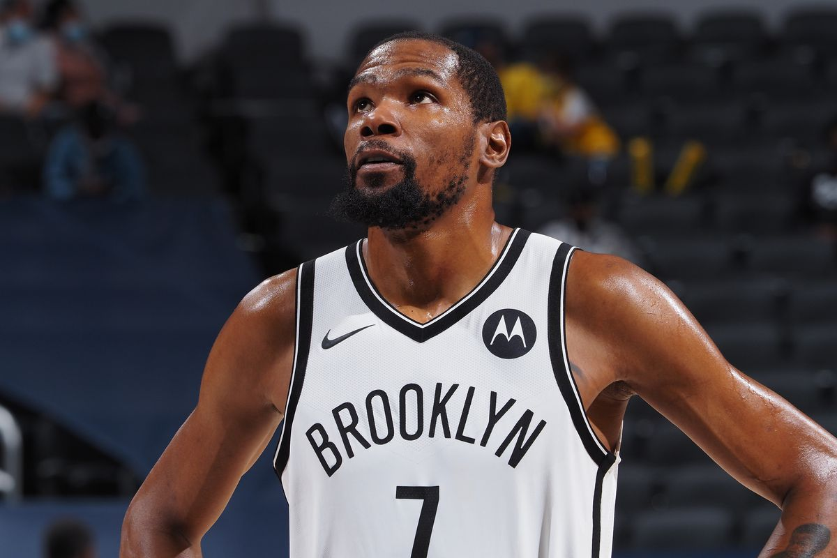 Kevin Durant of the Brooklyn Nets looks on during the game against the Indiana Pacers on April 29, 2021 at Bankers Life Fieldhouse in Indianapolis, Indiana.