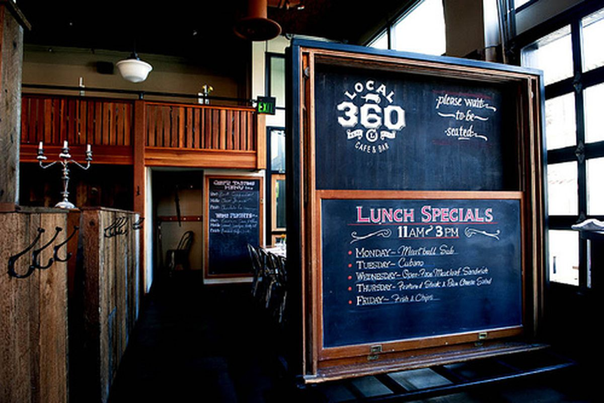 The chalkboard out front at Local 360, a restaurant in Belltown.