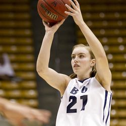 Lexi Eaton takes a three in BYU's game against the San Francisco Dons, in the Marriott Center  February 16, 2012