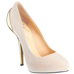 """<b>Giuseppe Zanotti</b> Gold-Tone heel, <a href=""""http://www.barneys.com/Giuseppe-Zanotti-Gold-Tone-Heel-Pump/501764302,default,pd.html?cgid=womens-heels&index=8"""">$650</a>, available for pre-order at Barneys"""