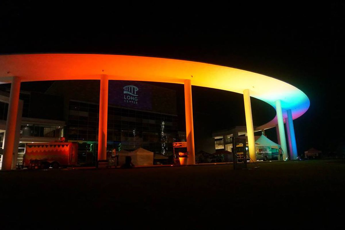 Long Center's pavilion with rainbow lights