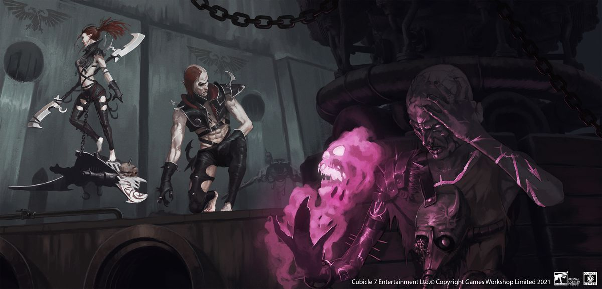 A full image of the choas psyker preparing to attack two dark eldar.