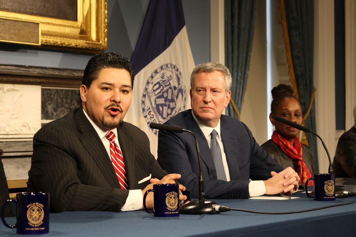 Schools Chancellor Richard Carranza (left) at a press conference with Mayor Bill de Blasio