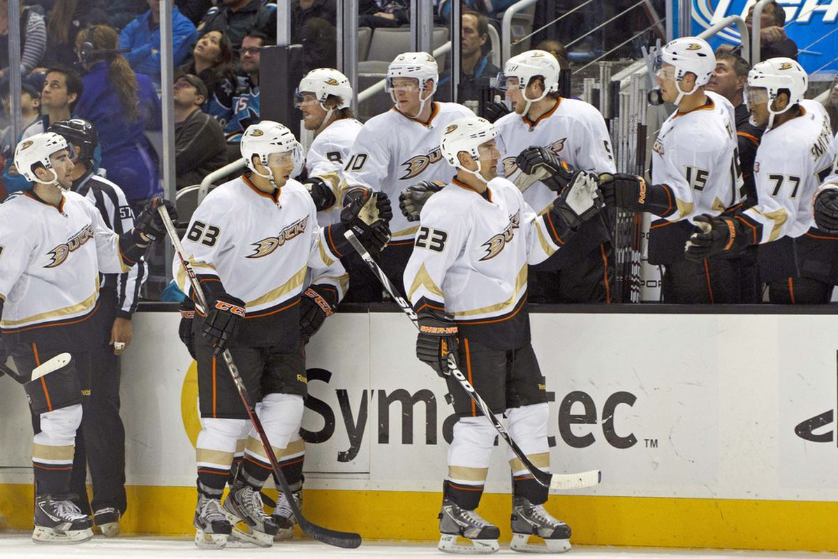 Mar 19, 2012; San Jose, CA, USA; Anaheim Ducks defenseman Francois Beauchemin (23) is congratulated by teammates after scoring a goal against the San Jose Sharks during the first period at HP Pavilion. Mandatory Credit: Jason O. Watson-US PRESSWIRE
