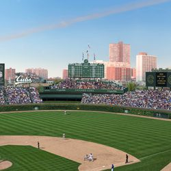 Overall view of new proposals -- note light towers in left and right field