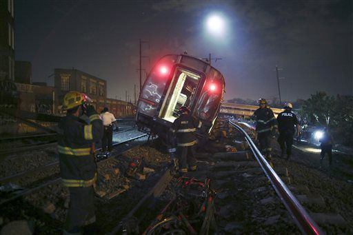 <small><strong>Emergency workers at the scene of the Amtrak derailment Tuesday night  in Philadelphia. | Joseph Kaczmarek/AP</strong></small>