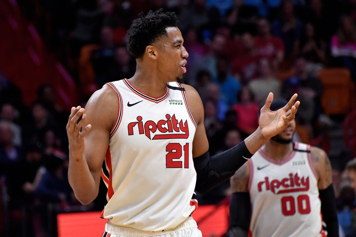 Portland Trail Blazers center Hassan Whiteside reacts against the Miami Heat during the second half at American Airlines Arena.