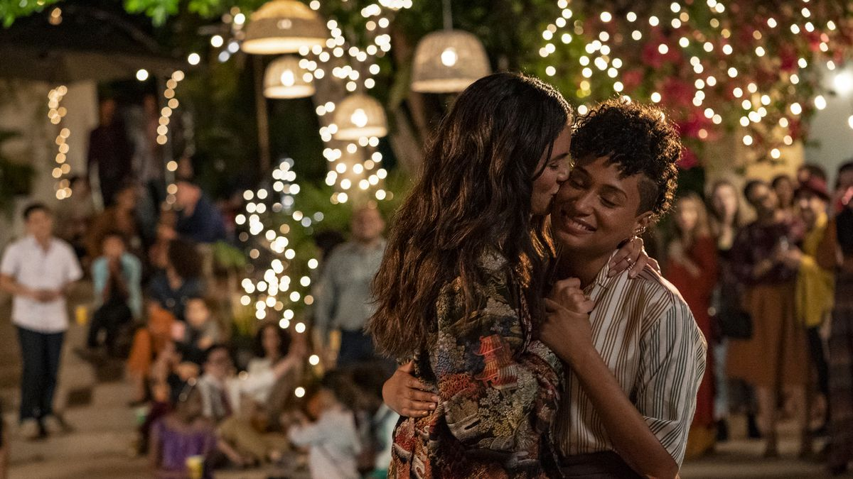 Dani and Sophie from The L Word: Generation Q share an embrace.