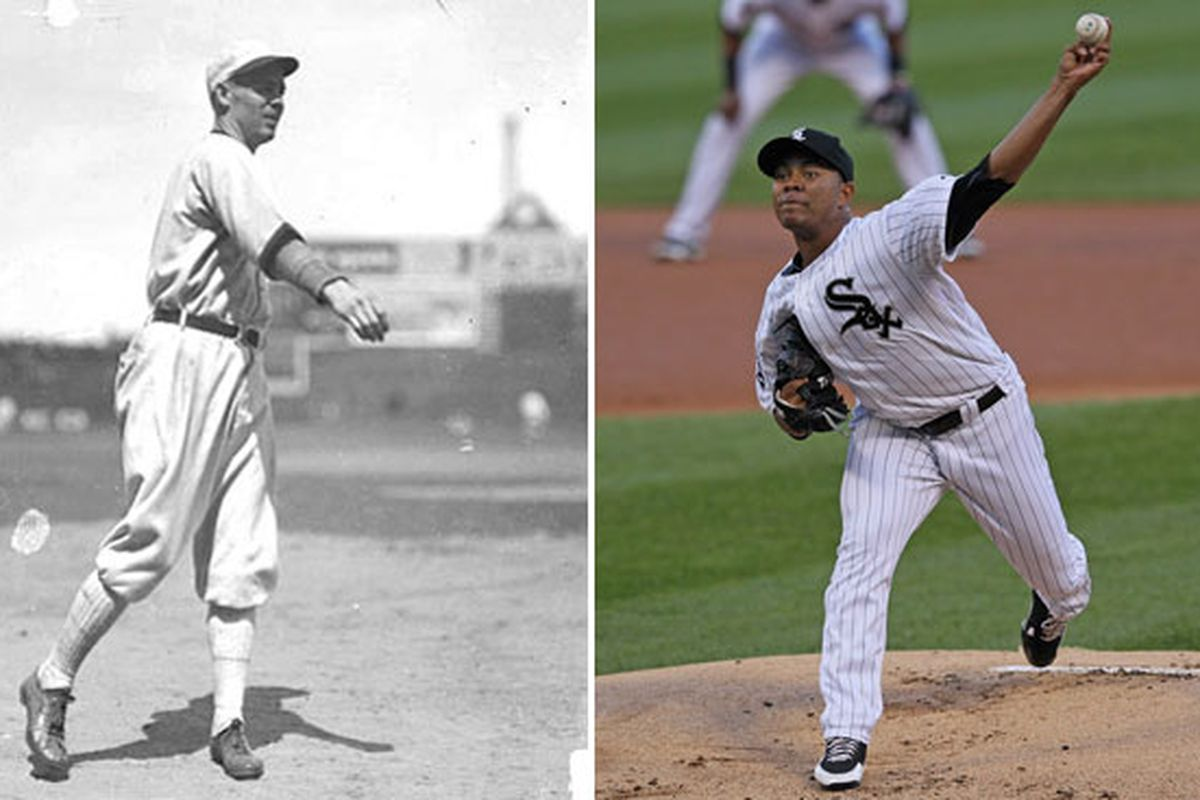 Sloppy Thurston and Jose Quintana: Together at last! (Chicago Daily News / Library of Congress, left; Jonathan Daniel / Getty Images, right)