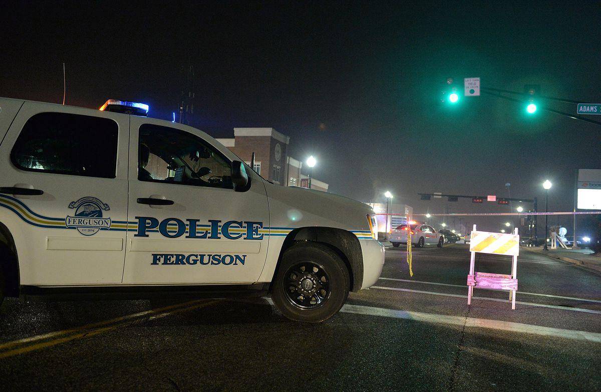 A police car blocks off an area in Ferguson, Missouri.