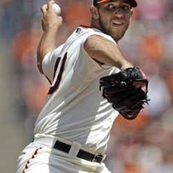 San Francisco Giants starting pitcher Madison Bumgarner throws to the San Diego Padres during the first inning of a baseball game in San Francisco,  Sunday, April 29, 2012.