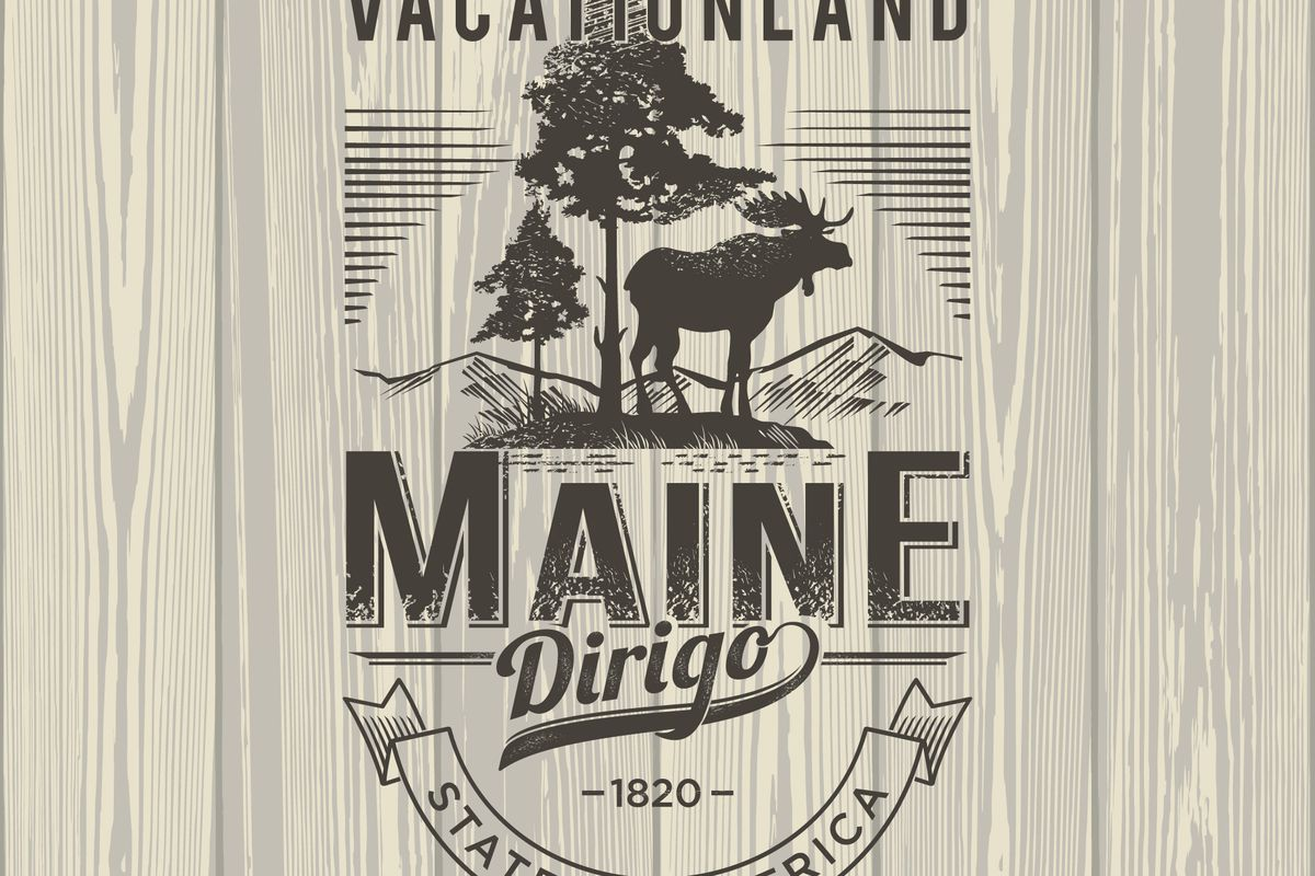 Maine vacationland logo.