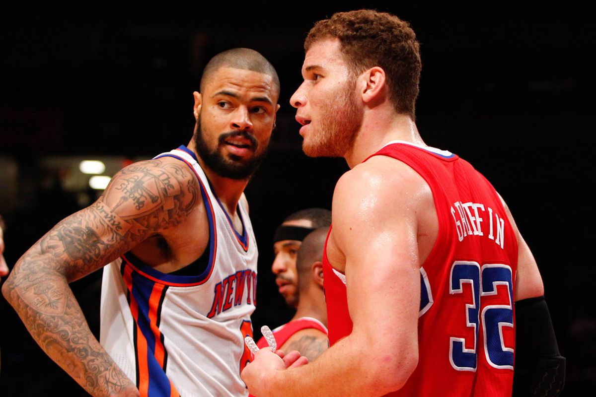Apr. 25, 2012; New York, NY, USA; New York Knicks center Tyson Chandler (6) and Los Angeles Clippers power forward Blake Griffin (32) during the second half at Madison Square Garden. Knicks won 99-93. Mandatory Credit: Debby Wong-US PRESSWIRE
