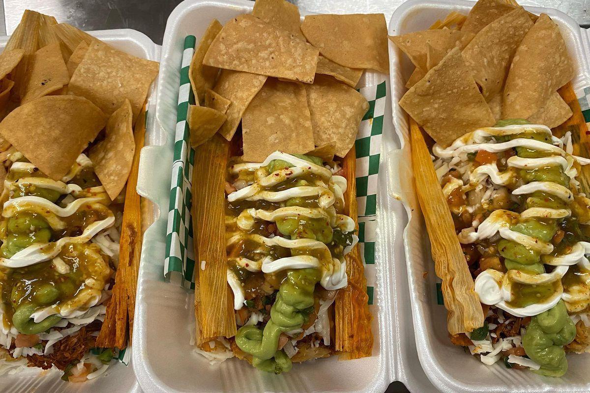 Loaded tamales at Yolanda's in South Sacramento