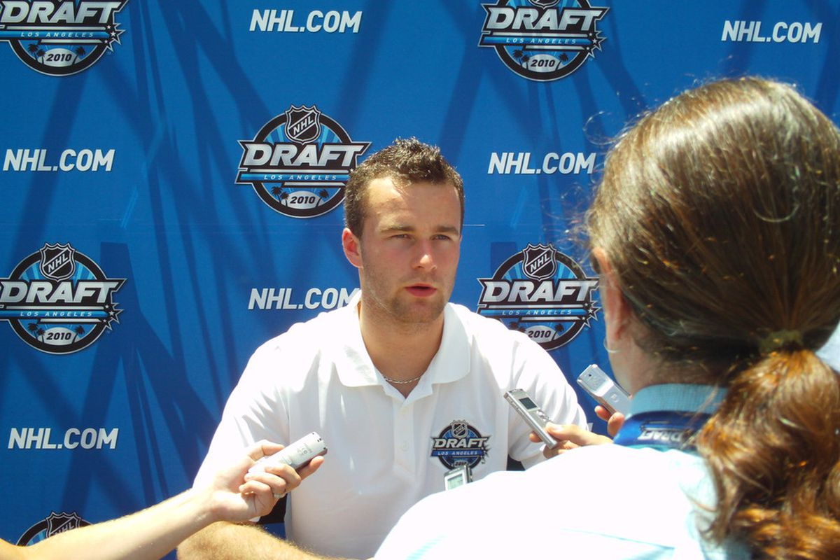 """<em>Los Angeles, CA.</em>    NHL prospect Brett Connolly answers questions during the Media """"Meet and Greet"""" at LA Live in Los Angeles"""