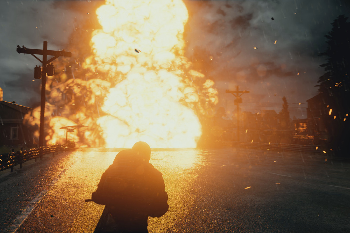 PlayerUnknown's Battlegrounds - big explosion in the middle of a street