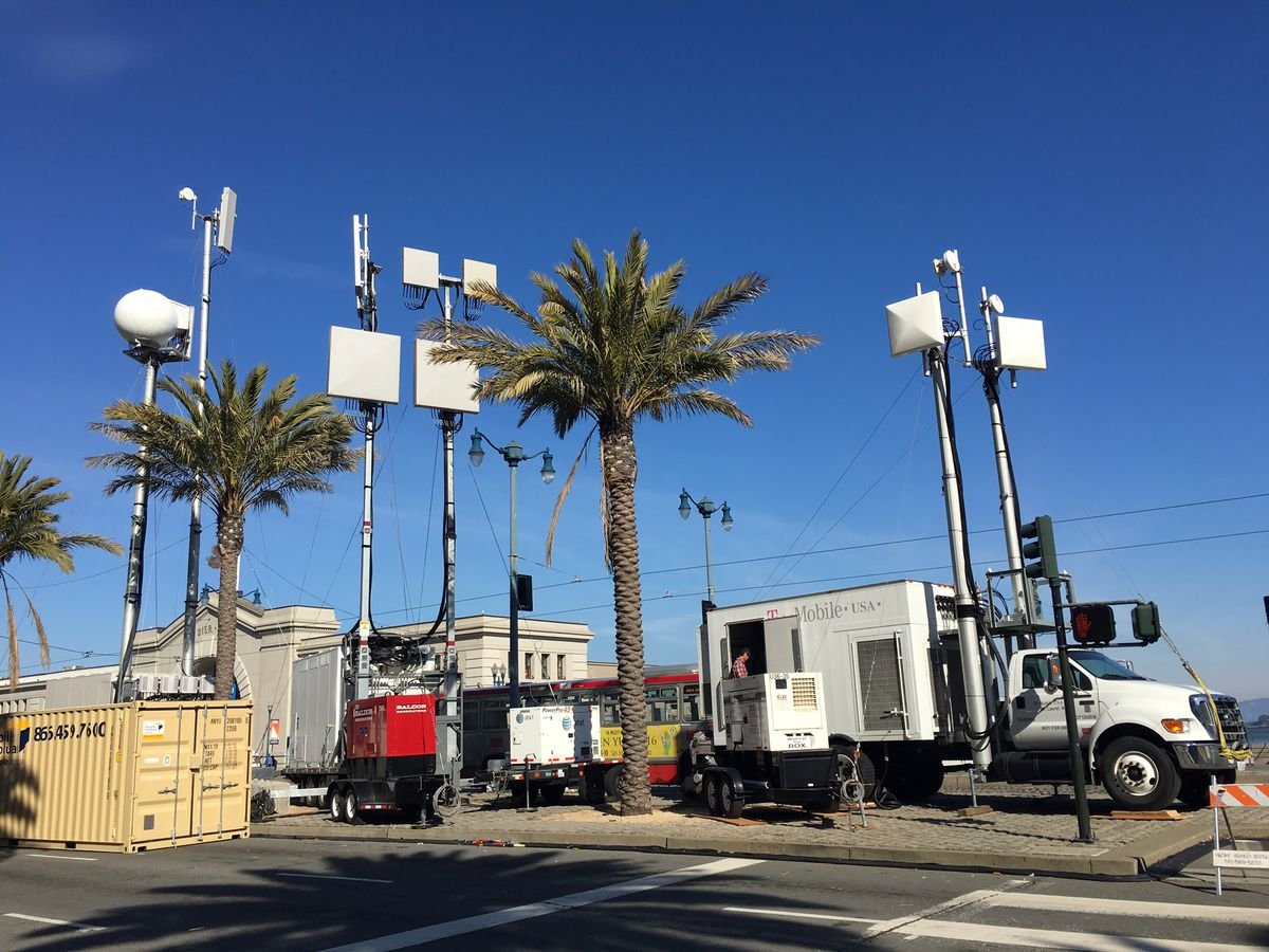 All four major carriers have installed temporary cell-on-wheels at spots expected to draw big Super Bowl crowds.