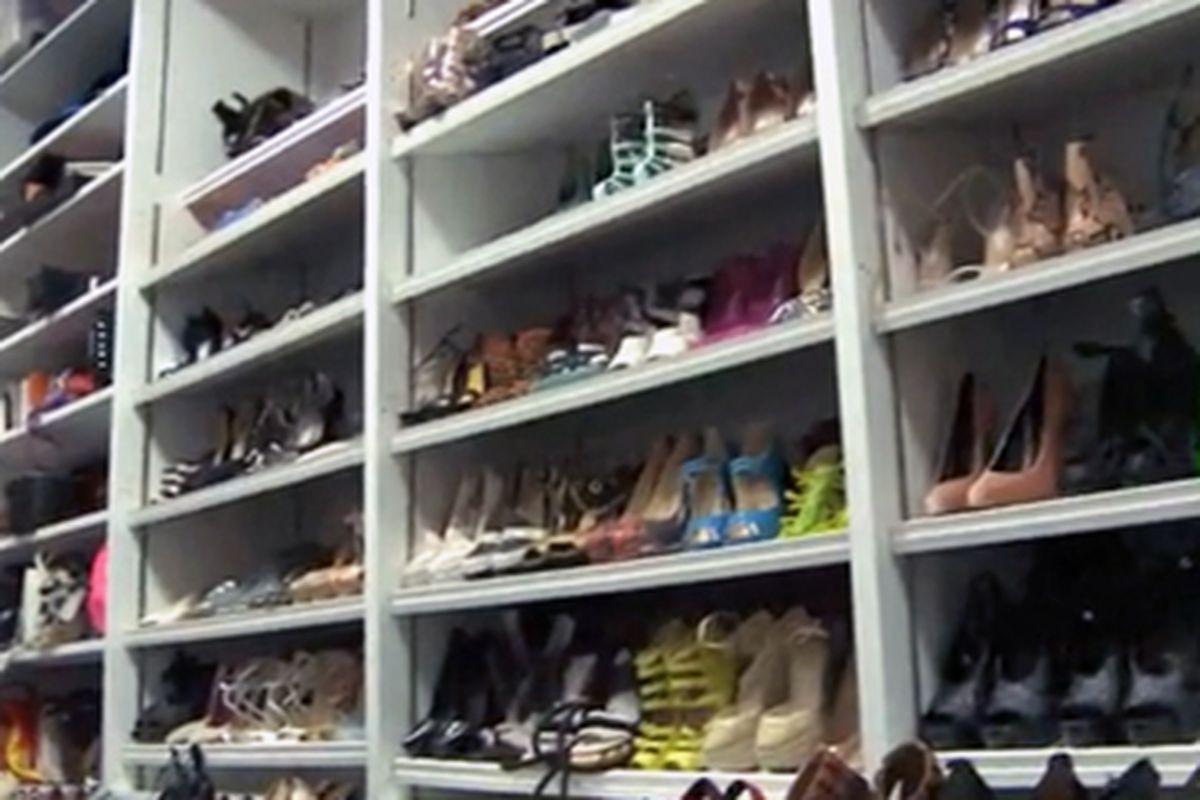 "Inside W's accessories closet, where one of the interns worked. Image via <a href=""http://vimeo.com/35888635"">NMDaily.com</a>"