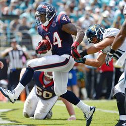 Houston Texans running back Ben Tate (44) runs for a touchdown against the Jacksonville Jaguars during the second half of an NFL football game, Sunday, Sept. 16, 2012, in Jacksonville, Fla. Houston won 27-7.