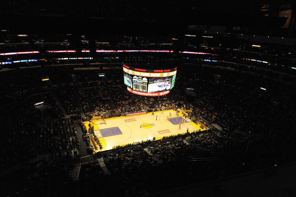 Apr 13, 2012; Los Angeles, CA, USA; General view of the NBA game between the Denver Nuggets and the Los Angeles Lakers at the Staples Center. The Lakers defeated the Nuggets 103-97. Mandatory Credit: Kirby Lee/Image of Sport-US PRESSWIRE