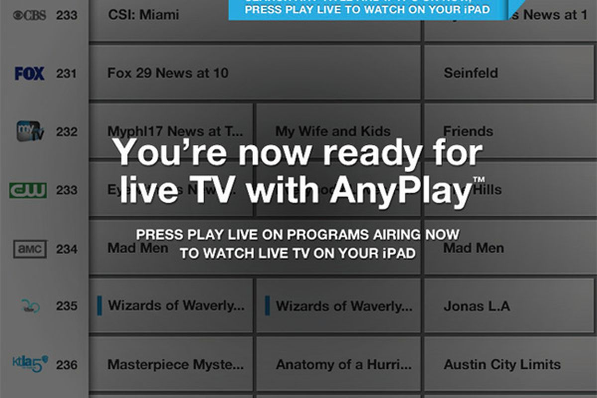Comcast adds AnyPlay live TV streaming to iPad Xfinity app, Xoom