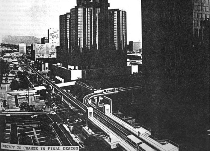 Black and white archival rendering shows elevated train-like tracks running parallel to skyscrapers and above streets filled with cars.