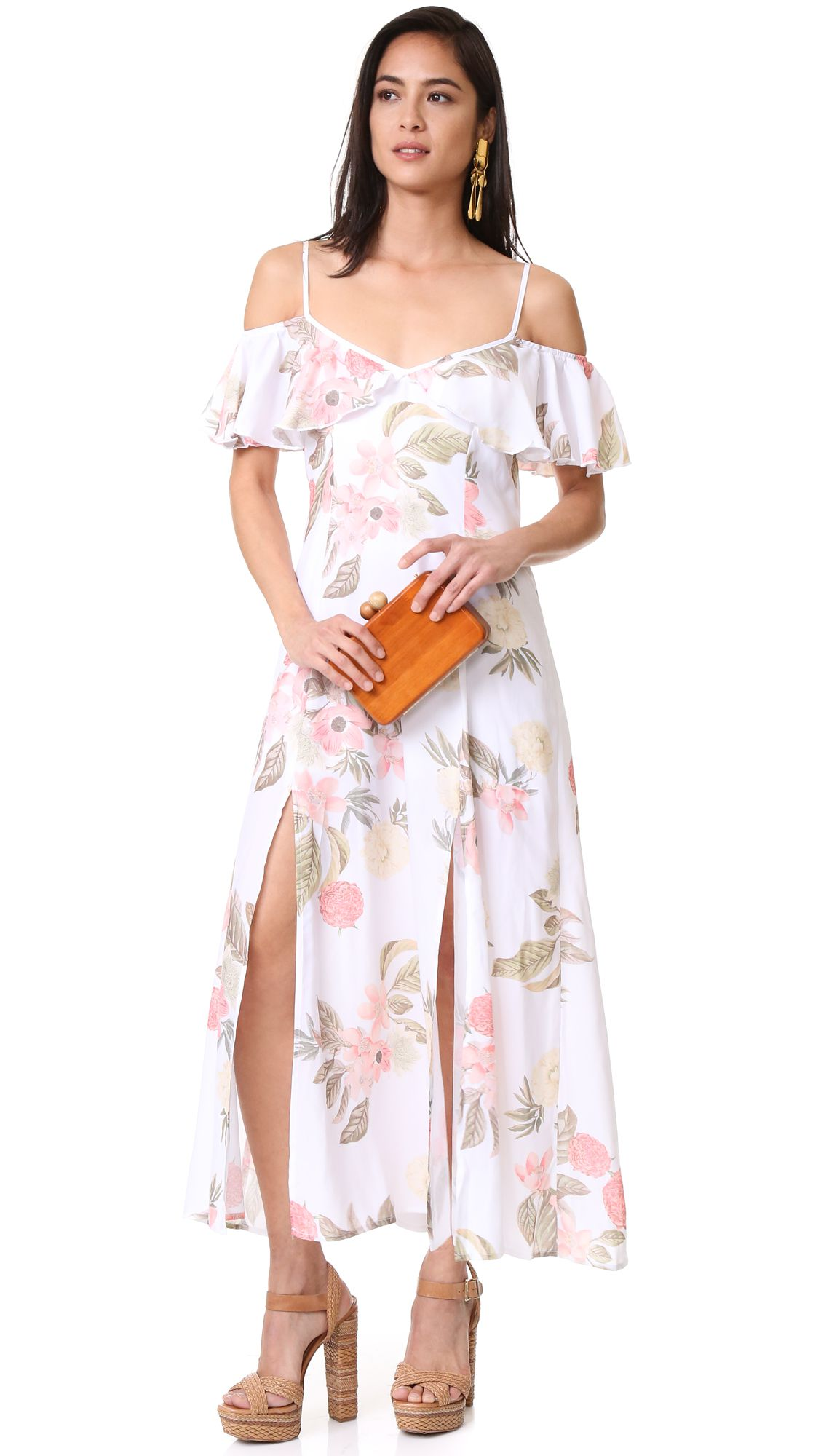 A model wearing a floral ruffle dress