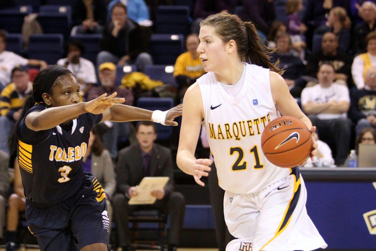 Katherine Plouffe leads MU in scoring and rebounding so far this season.