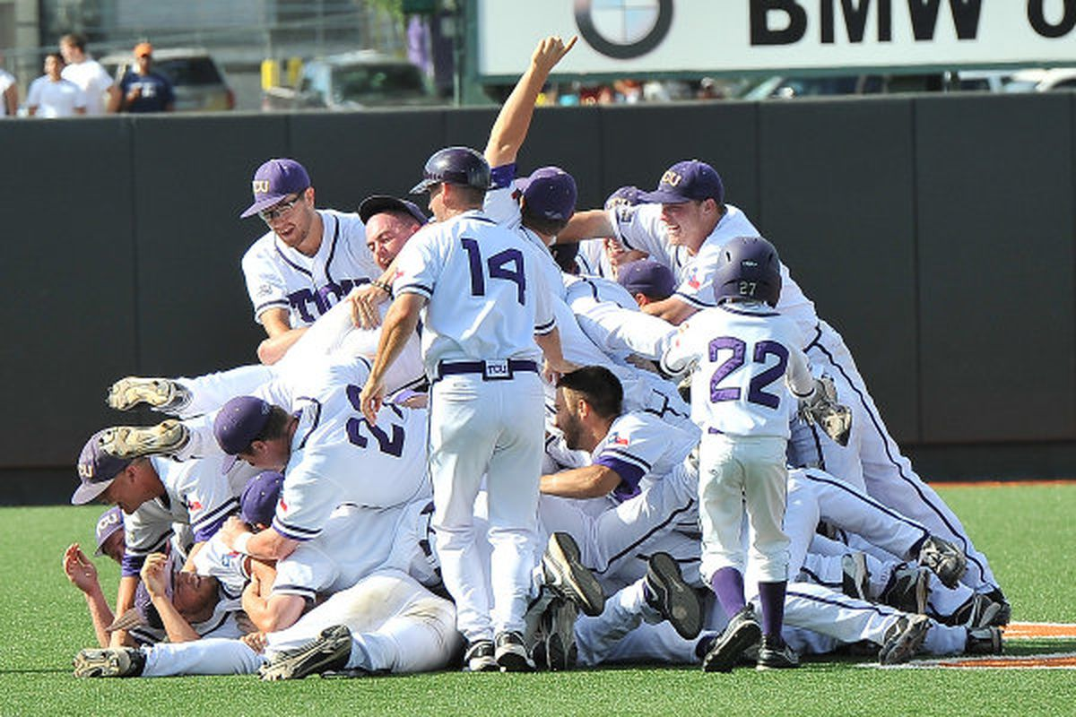 TCU dogpiles down in Austin after clinching their first College World Series appearance.