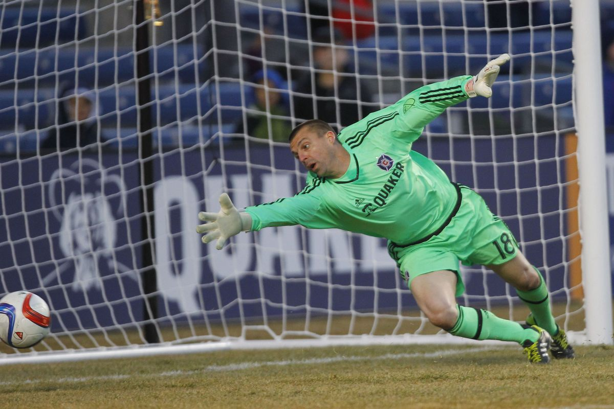 Octavio Rivero (not pictured) finally puts the ball in the part of the net where Jon Busch (pictured) isn't.