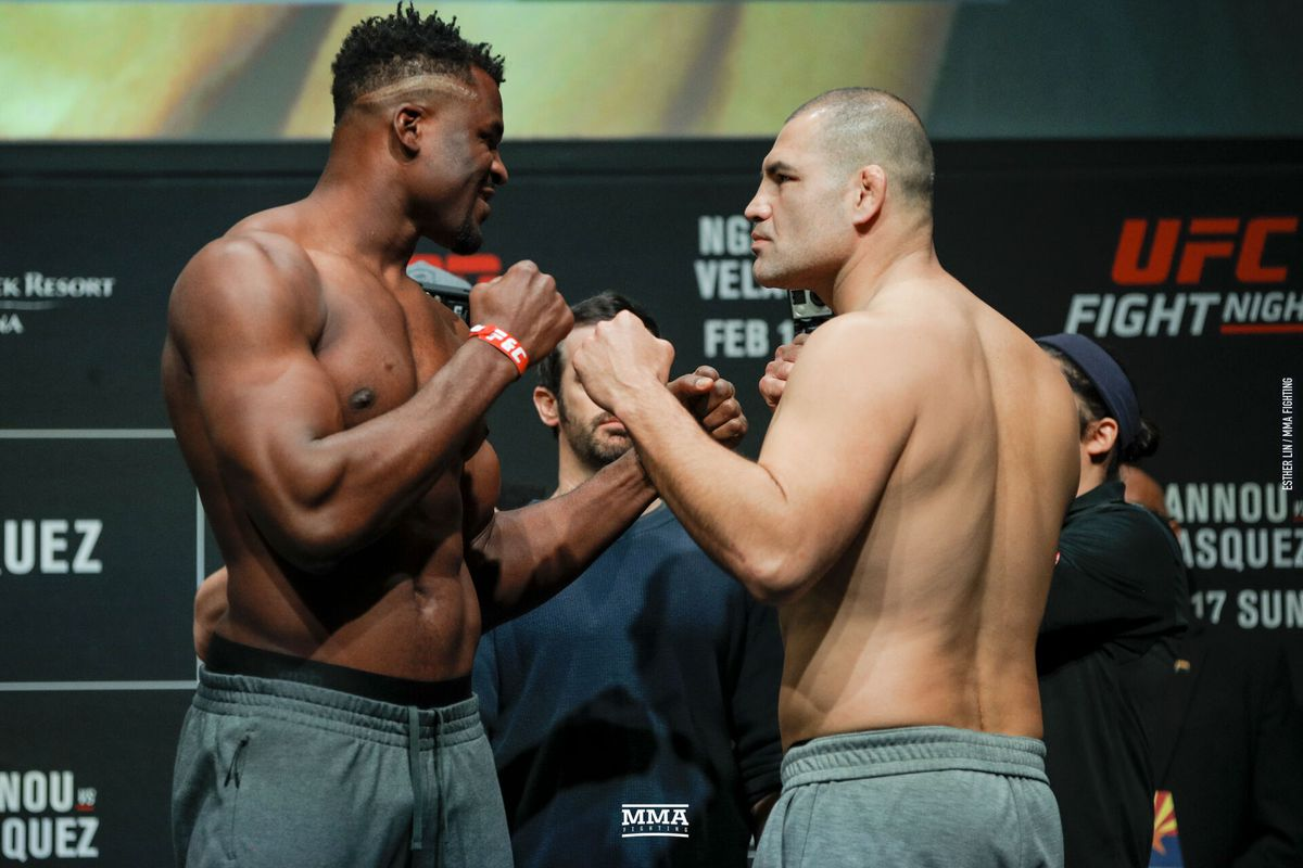 Francis Ngannou Faces Off With Cain Velasquez Ahead Of Their Heavyweight Main Event Bout At Ufc Phoenix On Sunday Esther Lin Mma Fighting