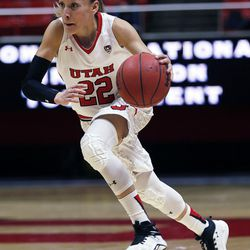 Utah Utes guard Danielle Rodriguez (22) dribbles against Montana State during NIT women's basketball action in Salt Lake City, Friday, March 18, 2016.