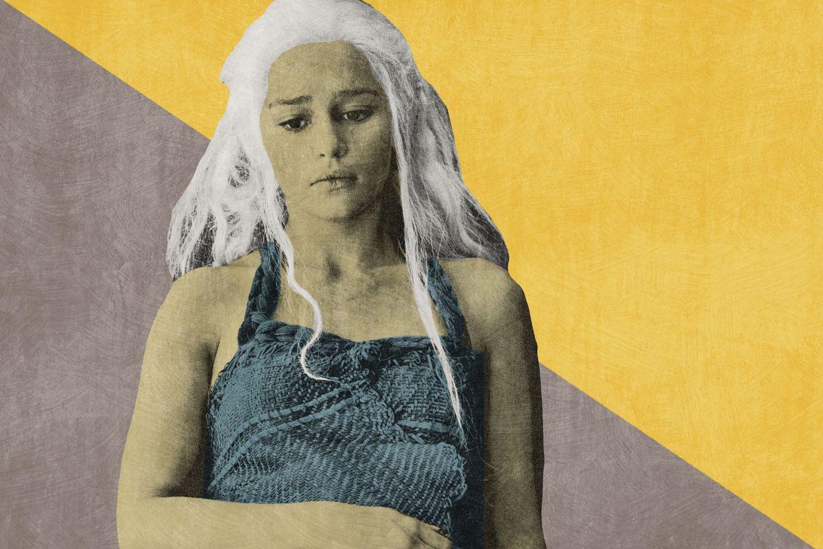 Daenerys Targaryen looking somber