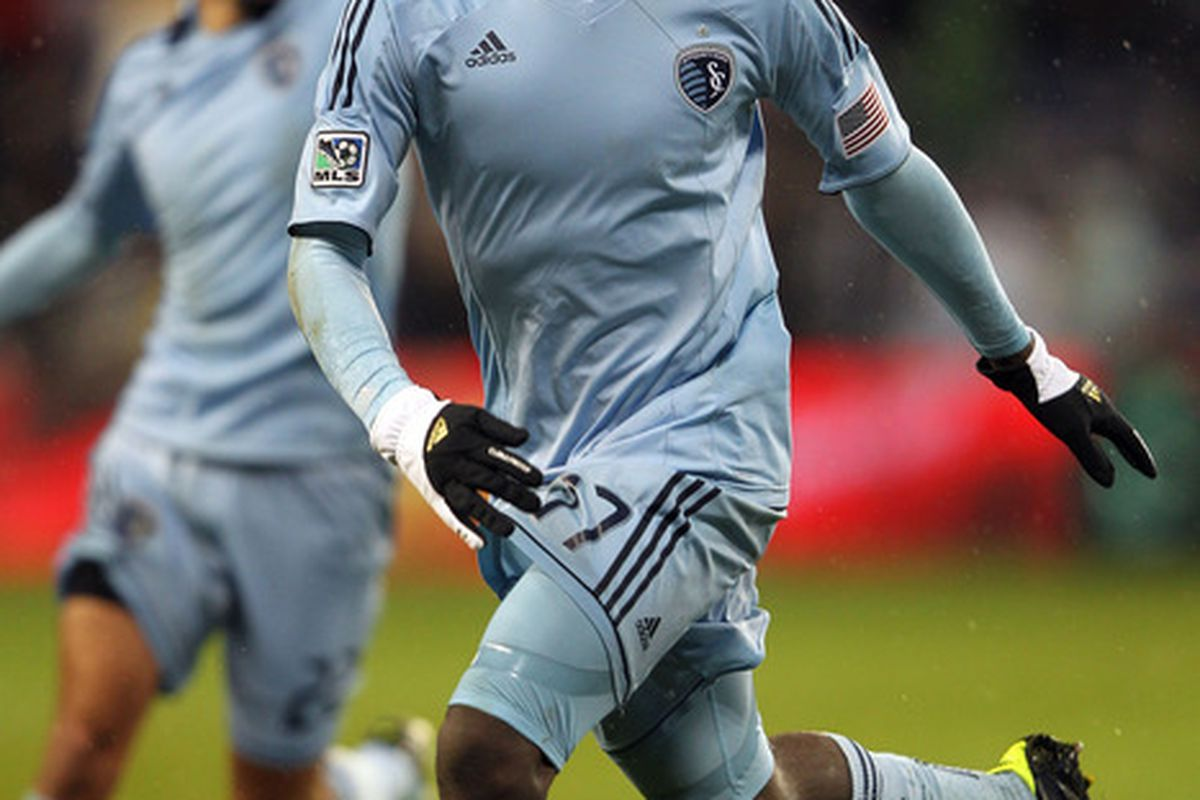 Rookie CJ Sapong came up big once again for Sporting KC with his header in the 76th minute of Kansas City's 2-0 win over the Colorado Rapids. (Photo by Jamie Squire/Getty Images)